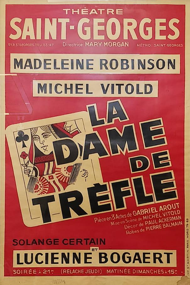 """Affiche de la pièce """"La dame de trèfle"""""""